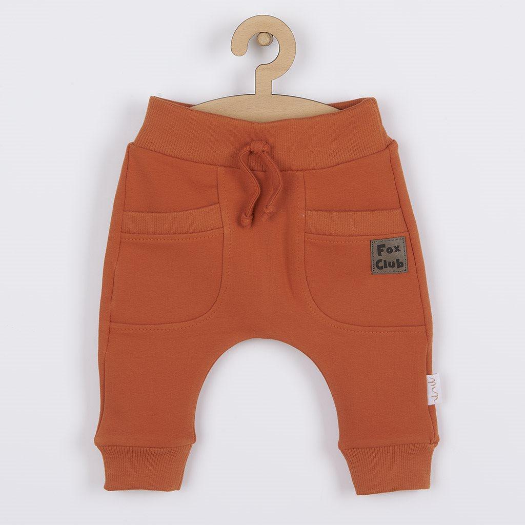Dojčenské bavlnené tepláčky Nicol Fox Club oranžové-56 (0-3m)