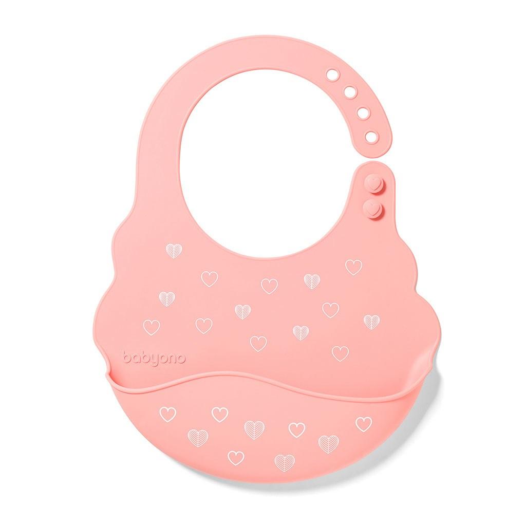 Nastaviteľný silikónový podbradník s kapsičkou Baby Ono ružový