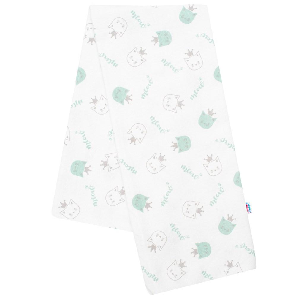 Flanelová plienka s potlačou New Baby biela meow zelená