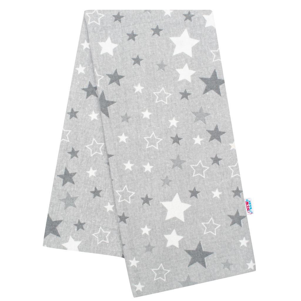 Flanelová plienka s potlačou New Baby sivá hviezdy