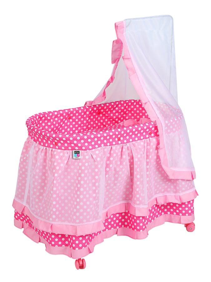 Košík pre bábiky PlayTo Nikolka svetlo ružový (poškodený obal)