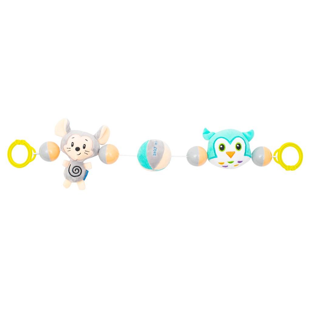 Detská plyšová hrkálka do kočíka Baby Mix myš a sova