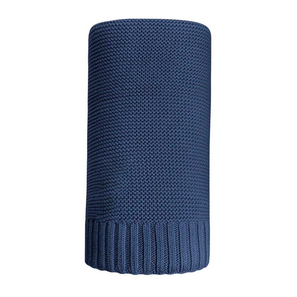 Bambusová pletená deka NEW BABY 100x80 cm tmavo modrá