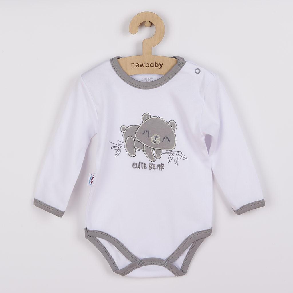 Dojčenské bavlnené body s dlhým rukávom New Baby Cute Bear
