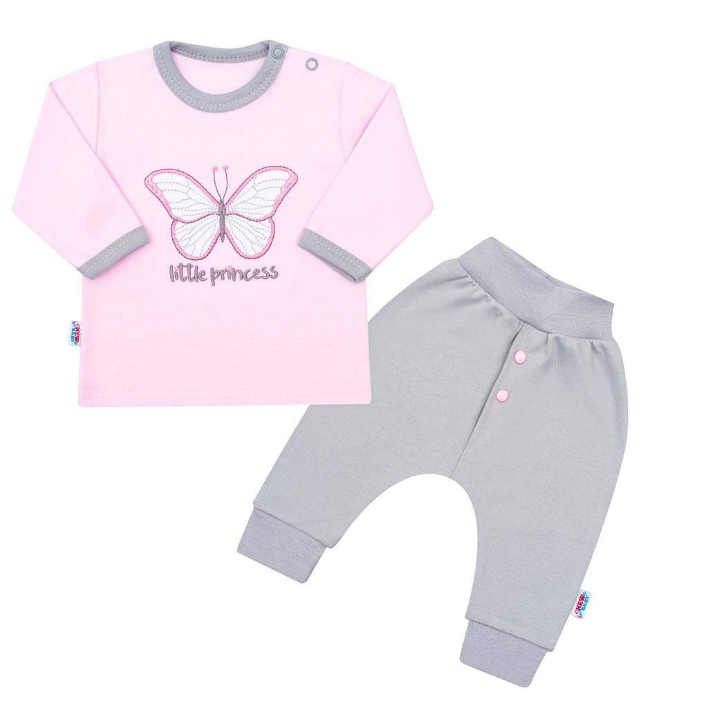 2-dielna dojčenská bavlnená súpravička New Baby Little Princess ružovo-sivá 80 (9-12m)