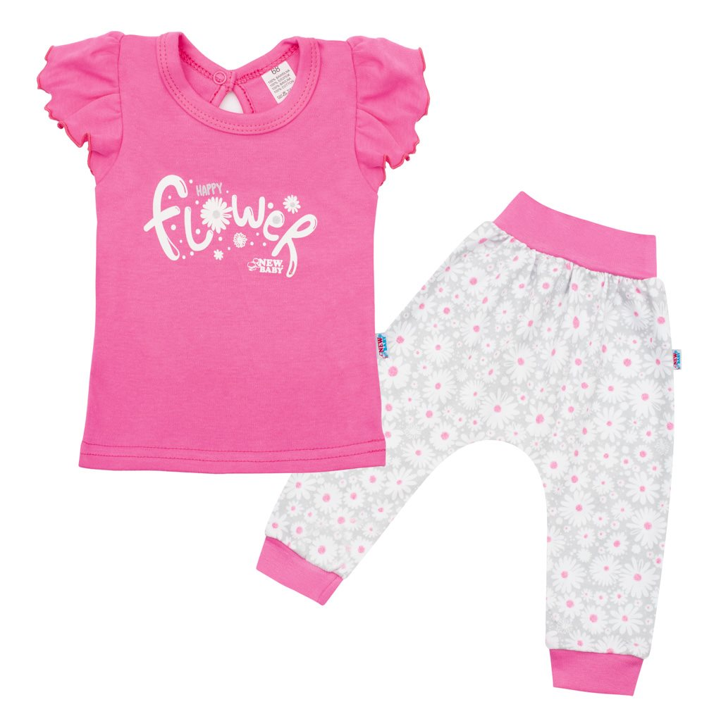 2-dielna dojčenská bavlnená súprava New Baby Happy Flower tmavo ružová