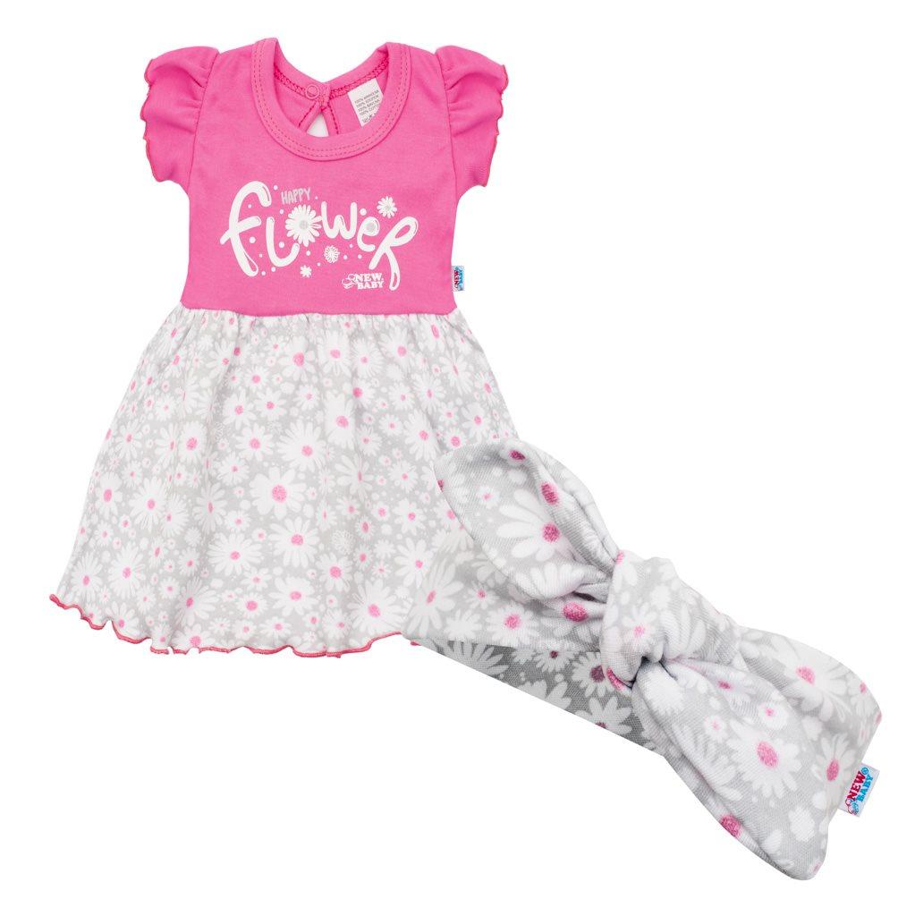 Dojčenské letné bavlnené šatôčky s čelenkou New Baby Happy Flower tmavo ružové