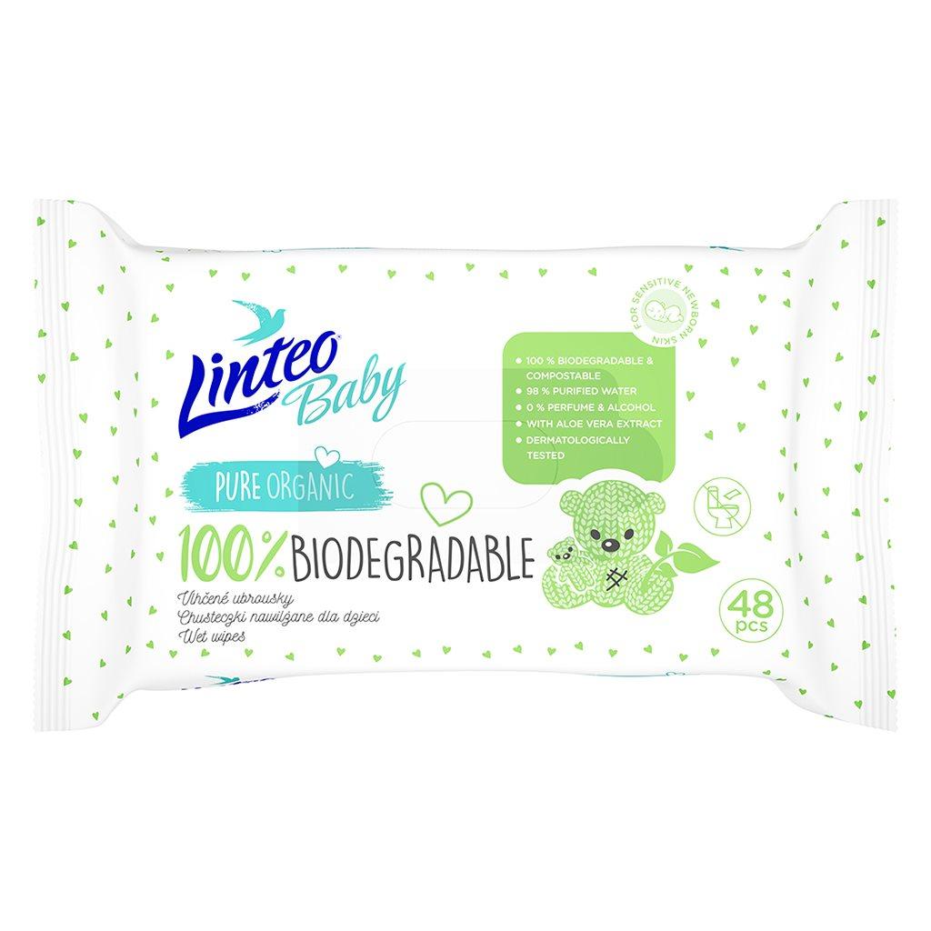 Detské vlhčené obrúsky Linteo Baby 100% BIODEGRADABLE 48ks