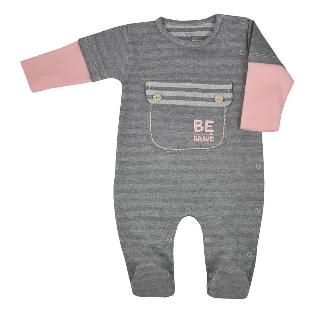 Dojčenský bavlnený overal Koala BE BRAVE sivo-ružový