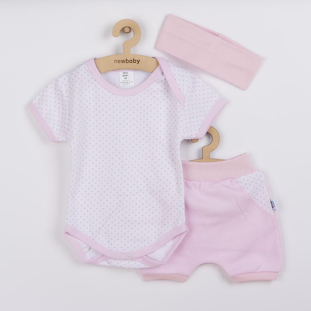 3-dielna letná bavlnená súprava New Baby Perfect Summer svetlo ružová 56 (0-3m)