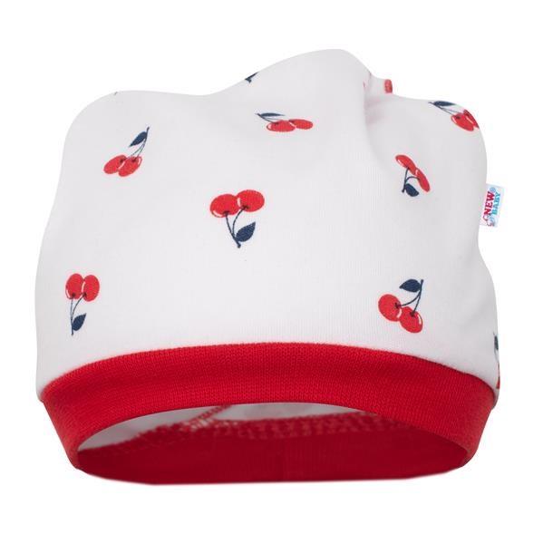 Dojčenská  bavlnená čiapočka-šatka New Baby Cherry