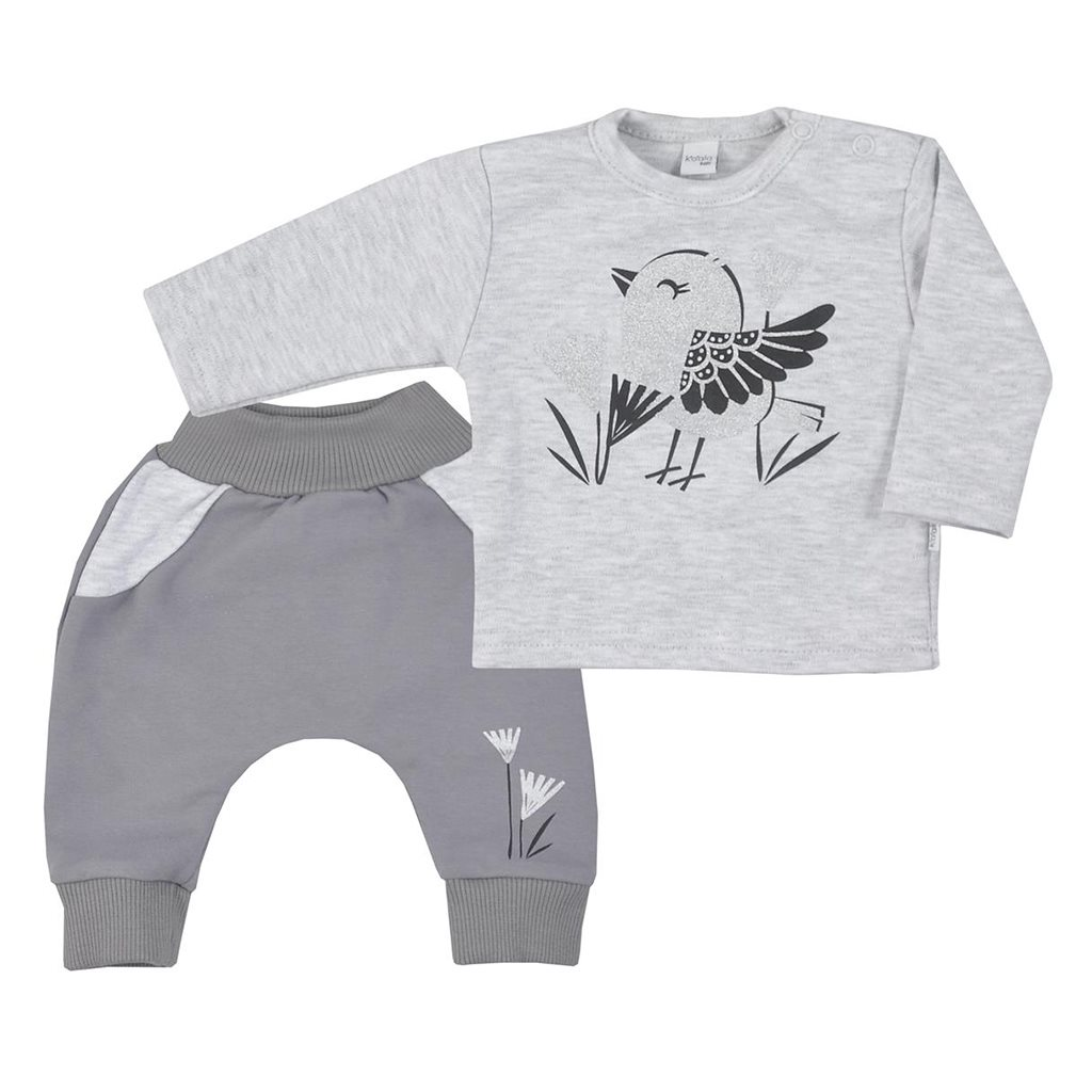 Dojčenské bavlnené tepláčky a tričko Koala Birdy sivé
