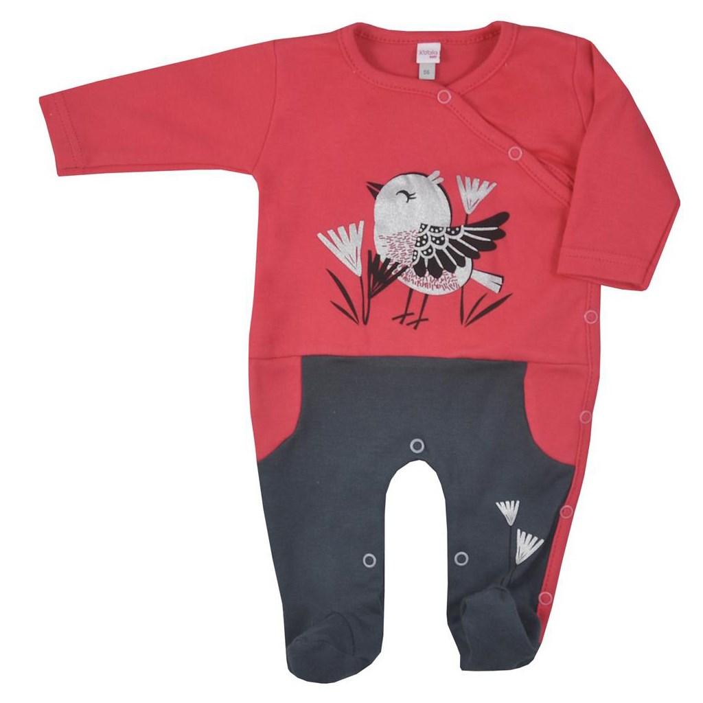 Dojčenský bavlnený overal Koala Birdy tmavo ružový 68 (4-6m)