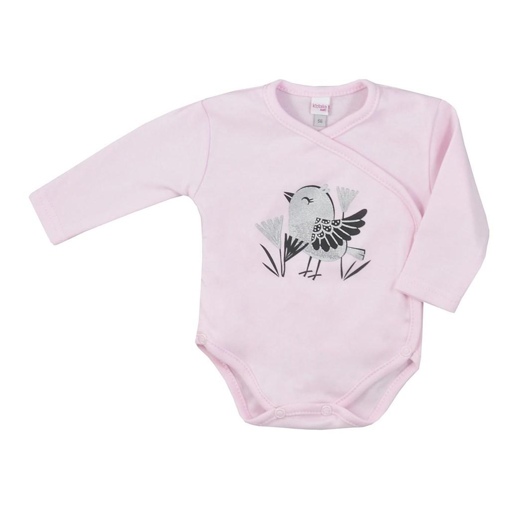 Dojčenské bavlnené body s bočným zapínaním Koala Birdy ružové