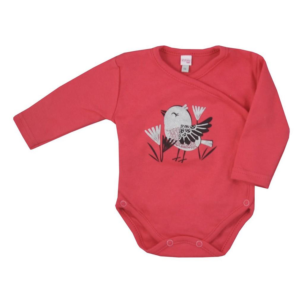 Dojčenské bavlnené body s bočným zapínaním Koala Birdy tmavo ružové