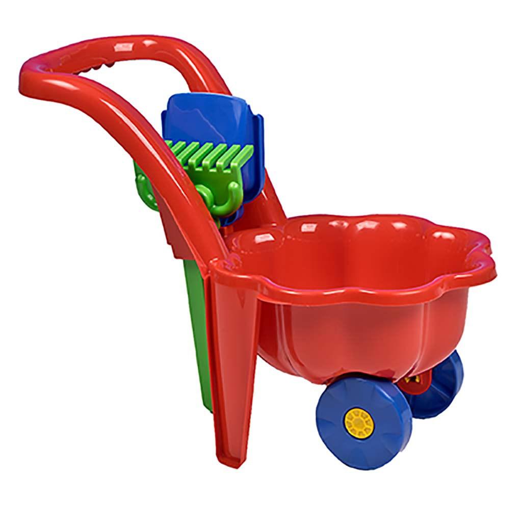 Detský záhradný fúrik s lopatkou a hrabličkami BAYO Sedmokráska červený
