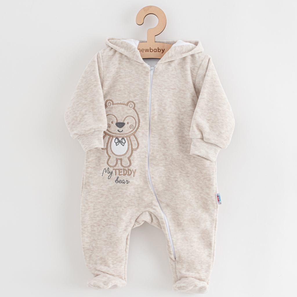 Dojčenský semiškový overal s kapucňou New Baby Sweetheart béžový