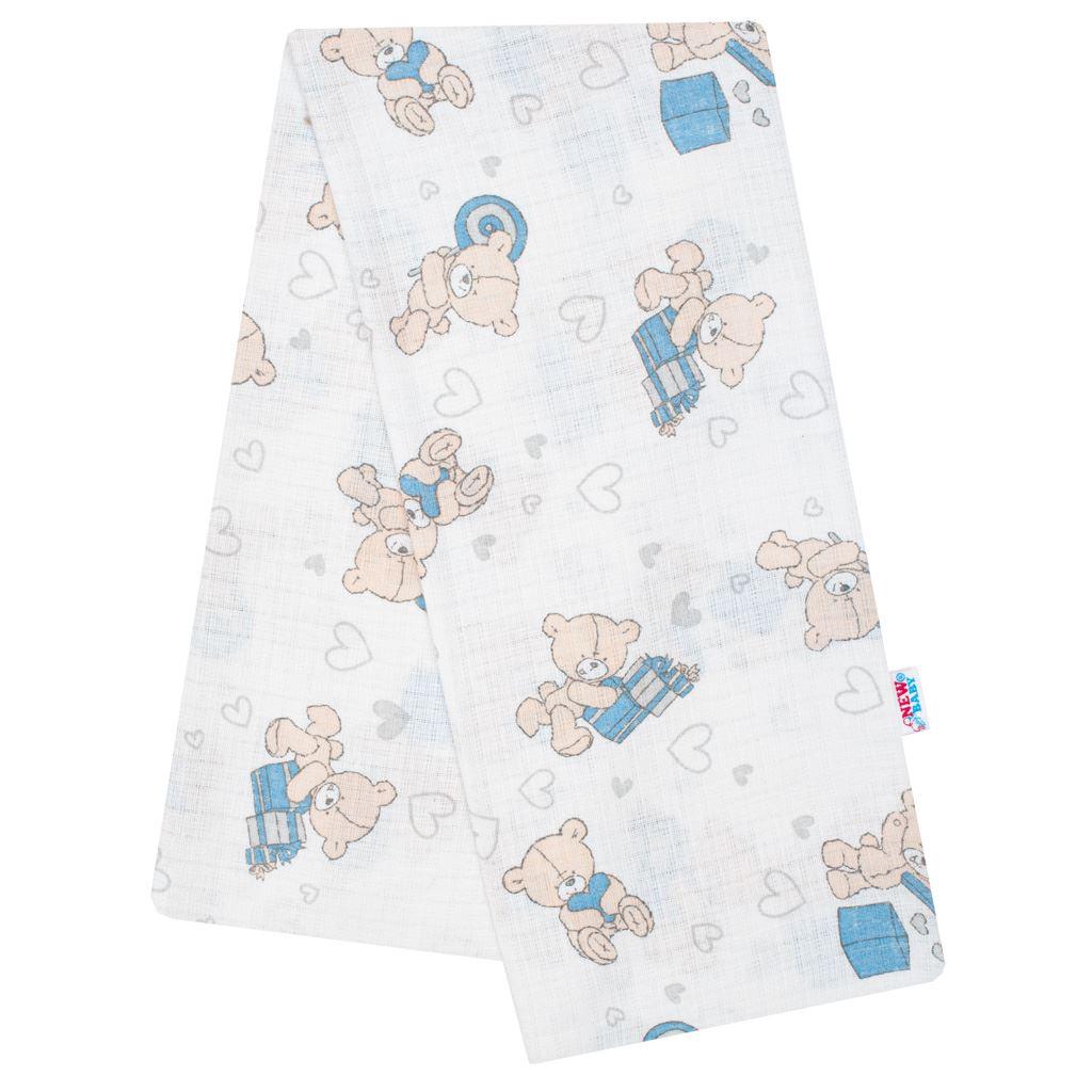 Bavlnená plienka s potlačou New Baby biela medvedík s modrým darčekom