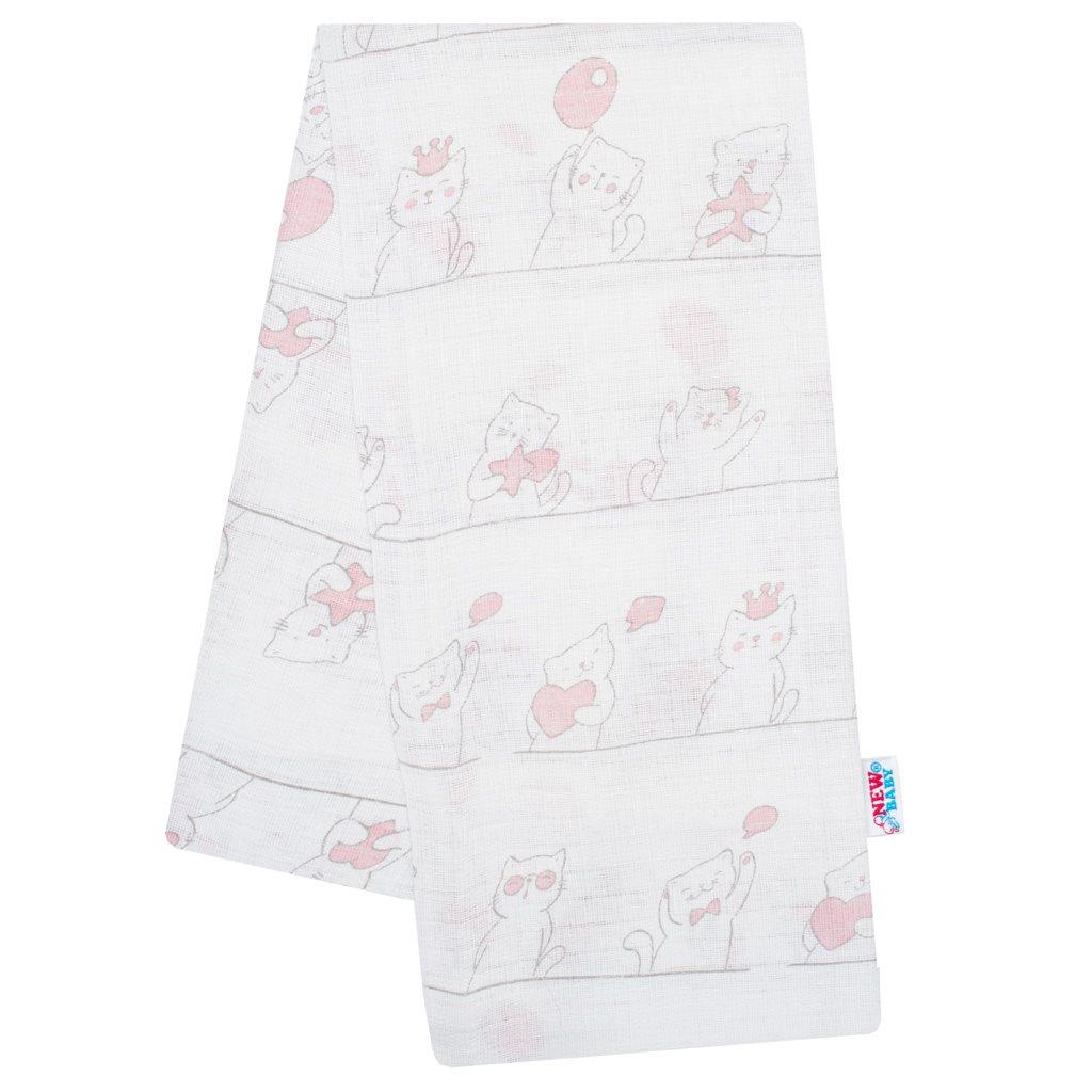 Bavlnená plienka s potlačou New Baby biela mačička ružová