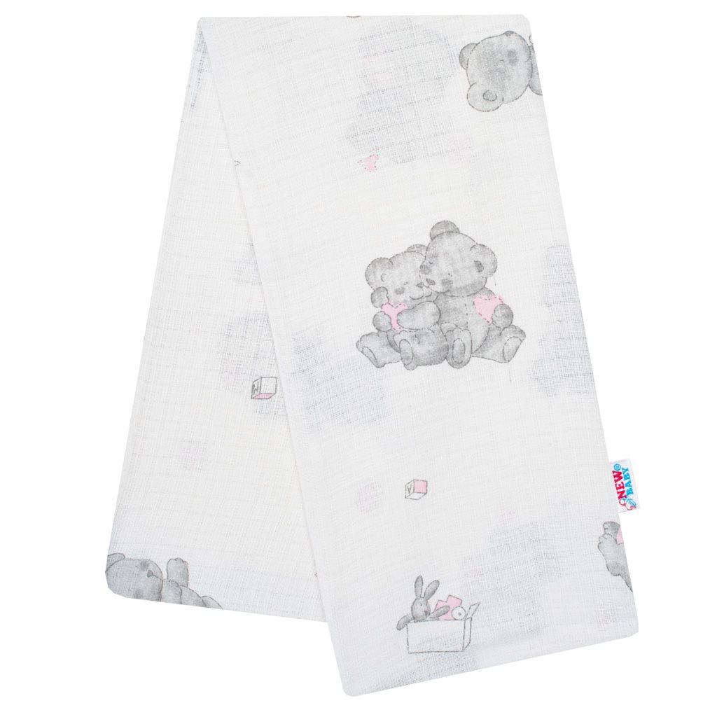 Bavlnená plienka s potlačou New Baby biela medvedík rúžový