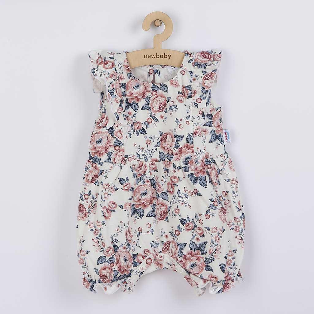 Dojčenský letný bavlnený overal New Baby Roses smotanovo-ružový
