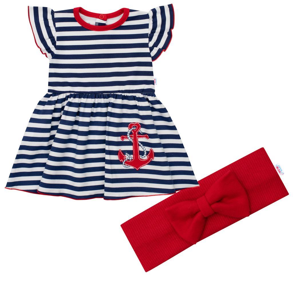 Dojčenské bavlnené šatôčky s čelenkou New Baby Marine
