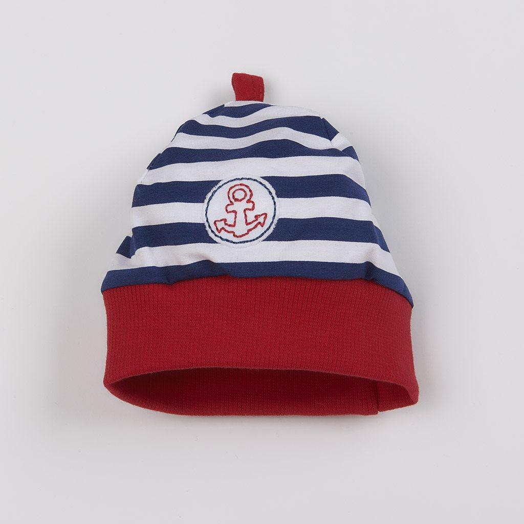 Dojčenská bavlnená čiapočka New Baby Marine-56 (0-3m)