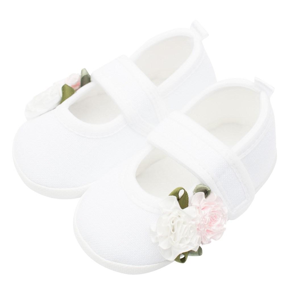 Dojčenské capačky New Baby Linen biele 3-6 m roses