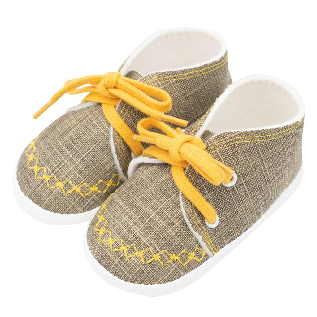 Dojčenské capačky tenisky New Baby jeans mustard 6-12 m
