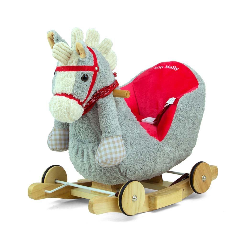 Hojdací koník s melódiou a kolieskami Milly Mally Polly sivo-červený