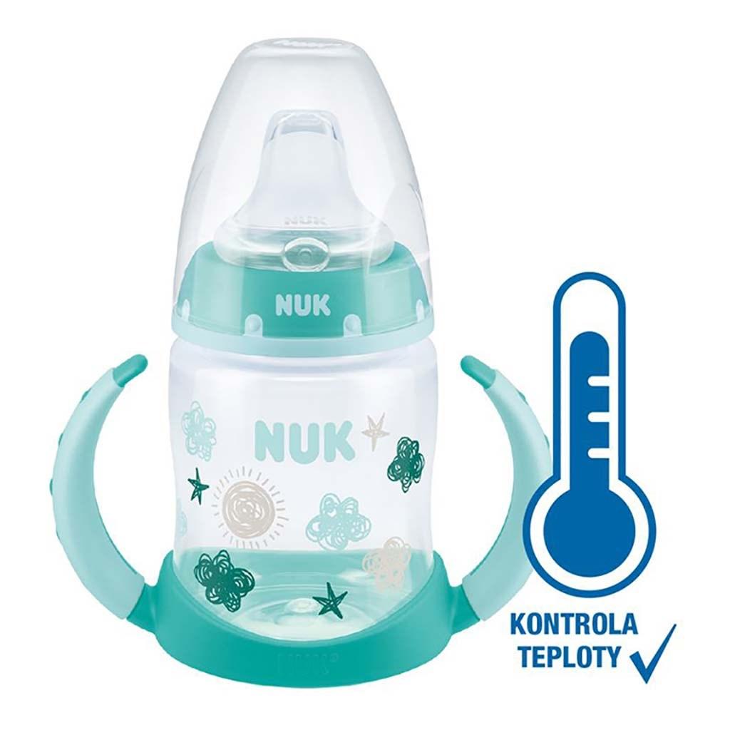 Dojčenská fľaša na učenie NUK s kontrolou teploty 150 ml zelená