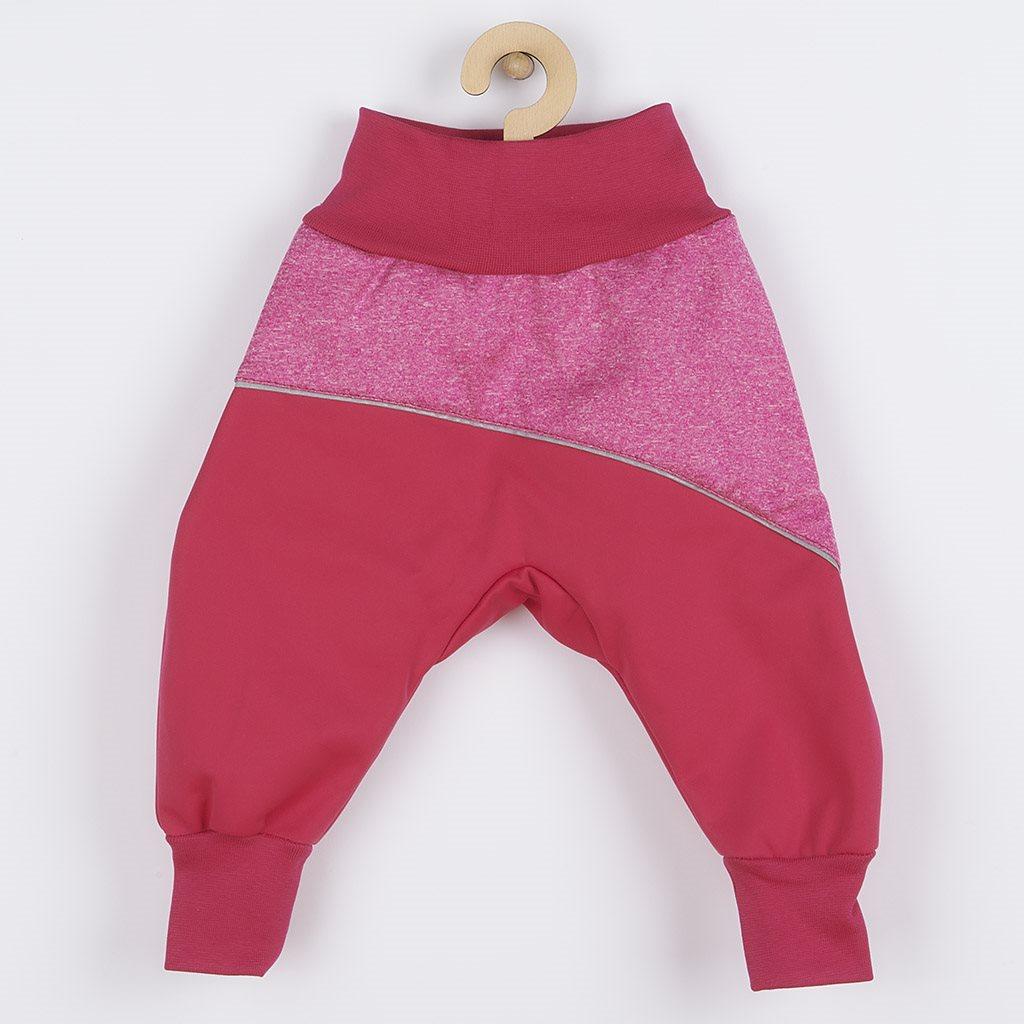 Softshellové dojčenské nohavice ružové-74 (6-9m)