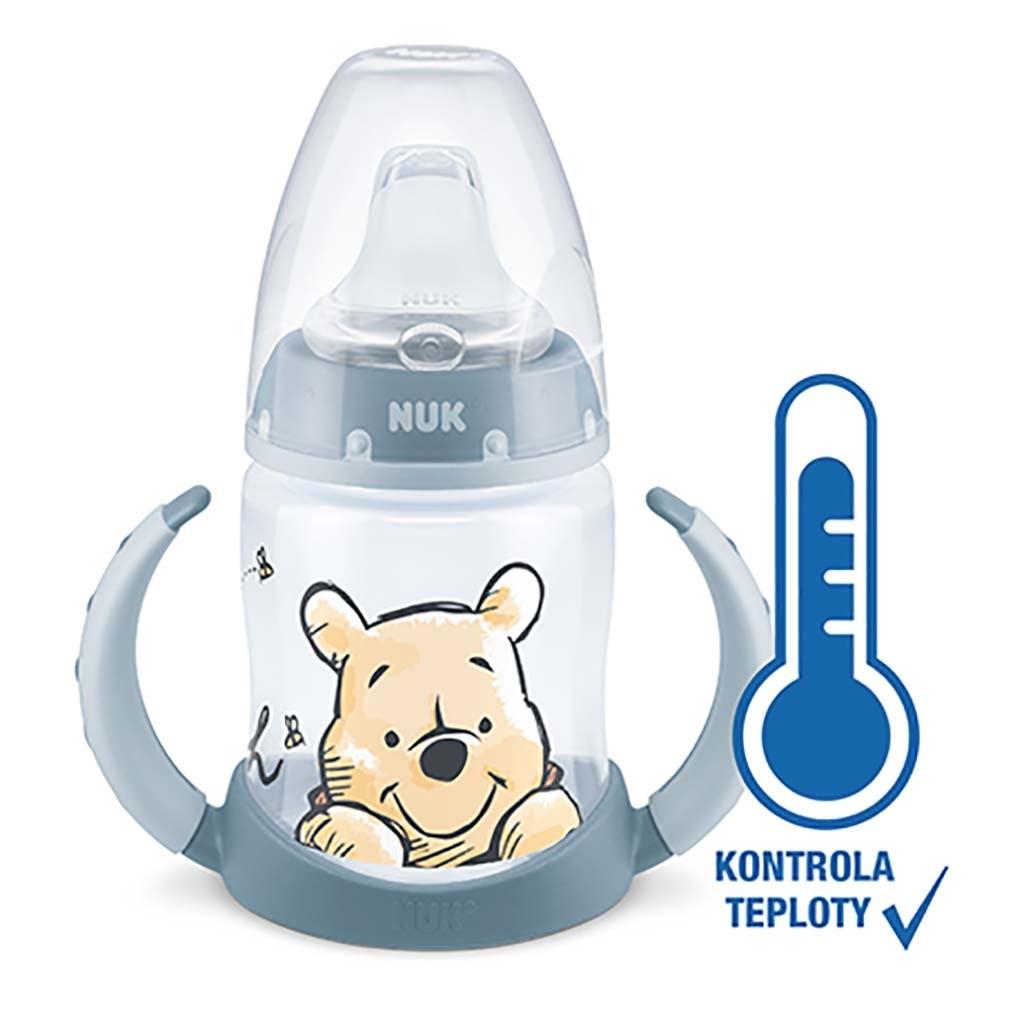 Dojčenská fľaša na učenie NUK Medvedík Pú s kontrolou teploty 150 ml sivá