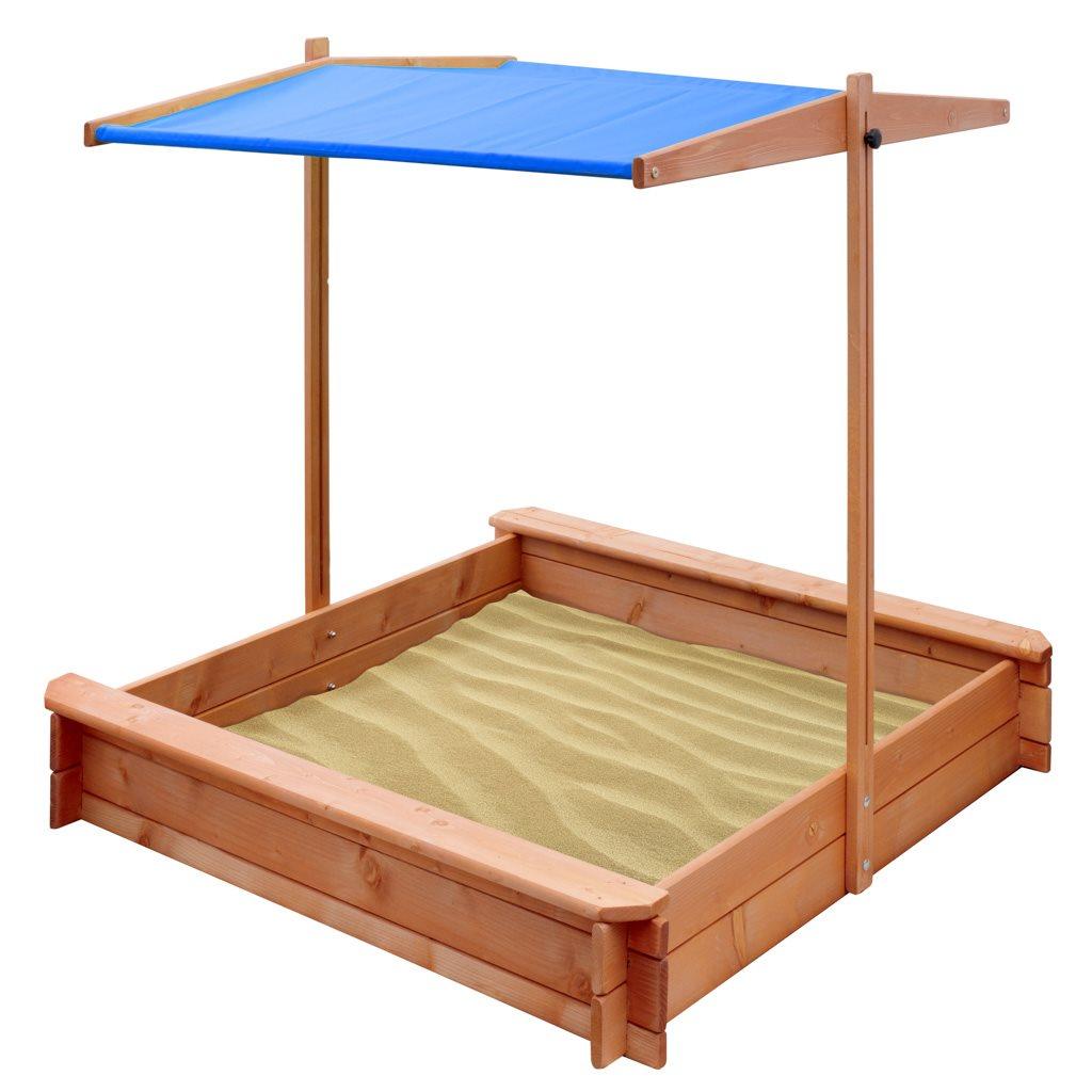Detské drevené pieskovisko so strieškou NEW BABY 120 x 120 cm modré