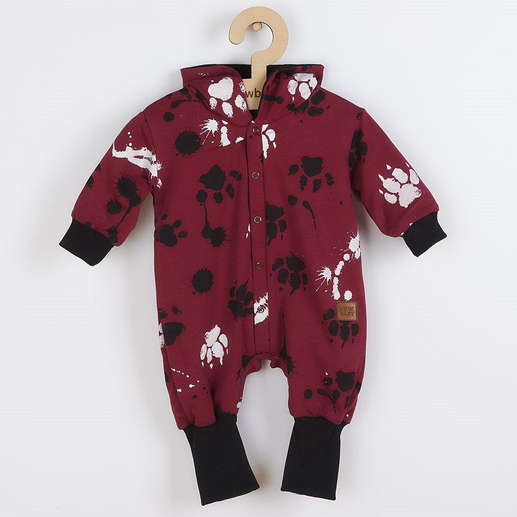 Dojčenský bavlnený overal s kapucňou a uškami New Baby Paw tmavo ružový