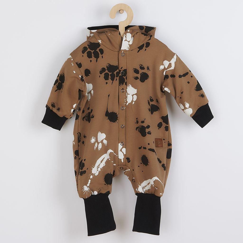 Dojčenský bavlnený overal s kapucňou a uškami New Baby Paw horčicový
