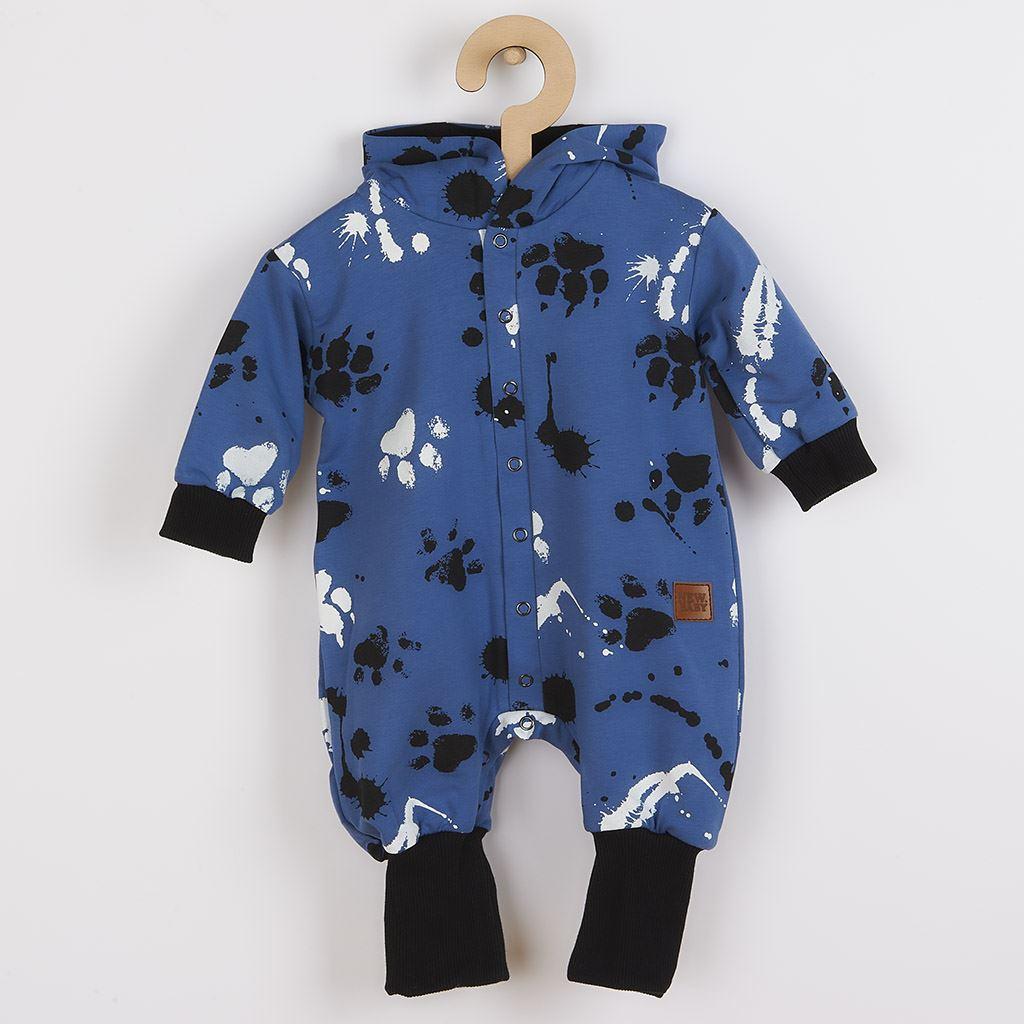 Dojčenský bavlnený overal s kapucňou a uškami New Baby Paw modrý