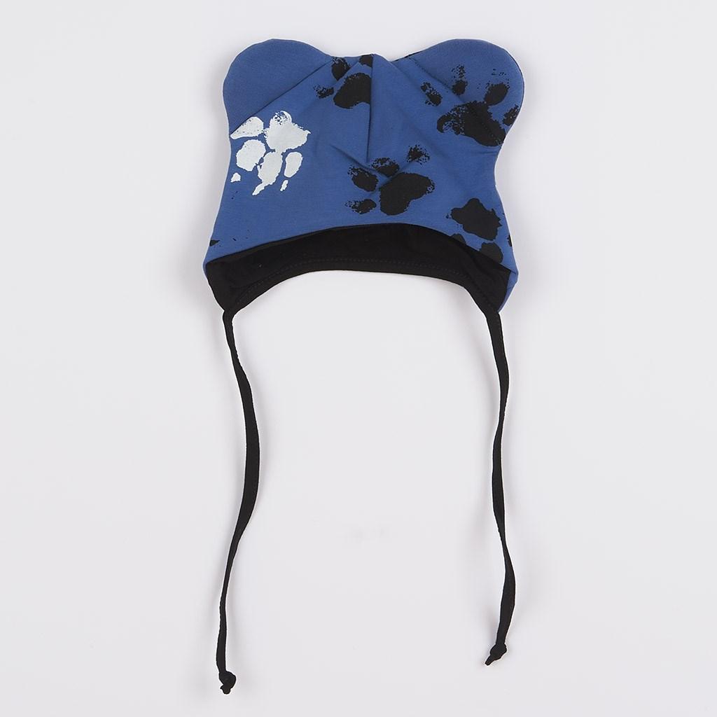 Dojčenská bavlnená čiapka s uškami New Baby Paw modrá-56 (0-3m)
