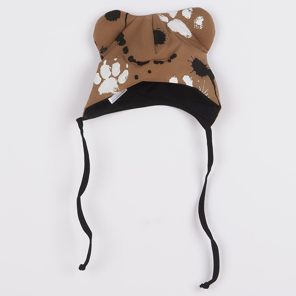 Dojčenská bavlnená čiapka s uškami New Baby Paw horčicová-56 (0-3m)