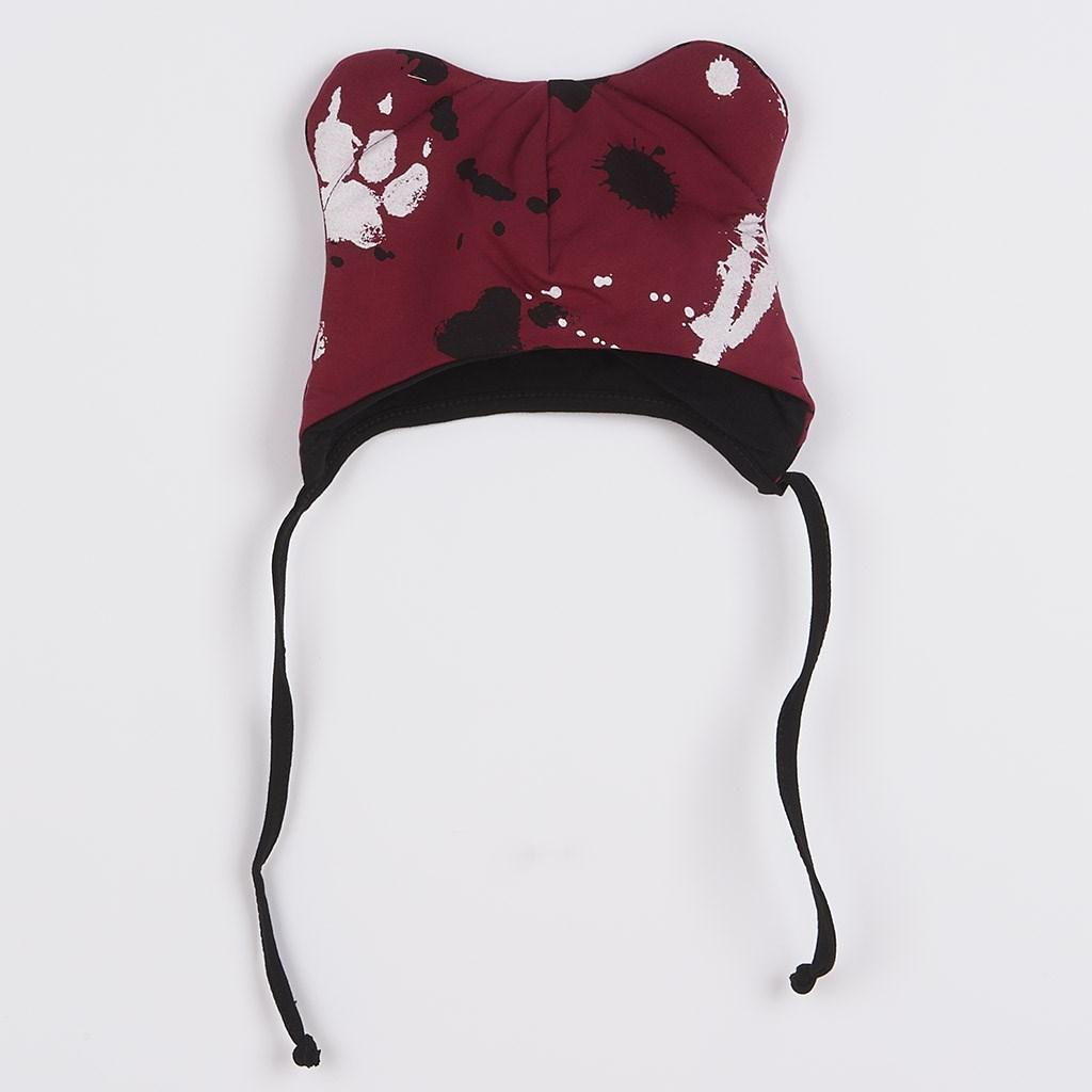 Dojčenská bavlnená čiapka s uškami New Baby Paw tmavo ružová-56 (0-3m)