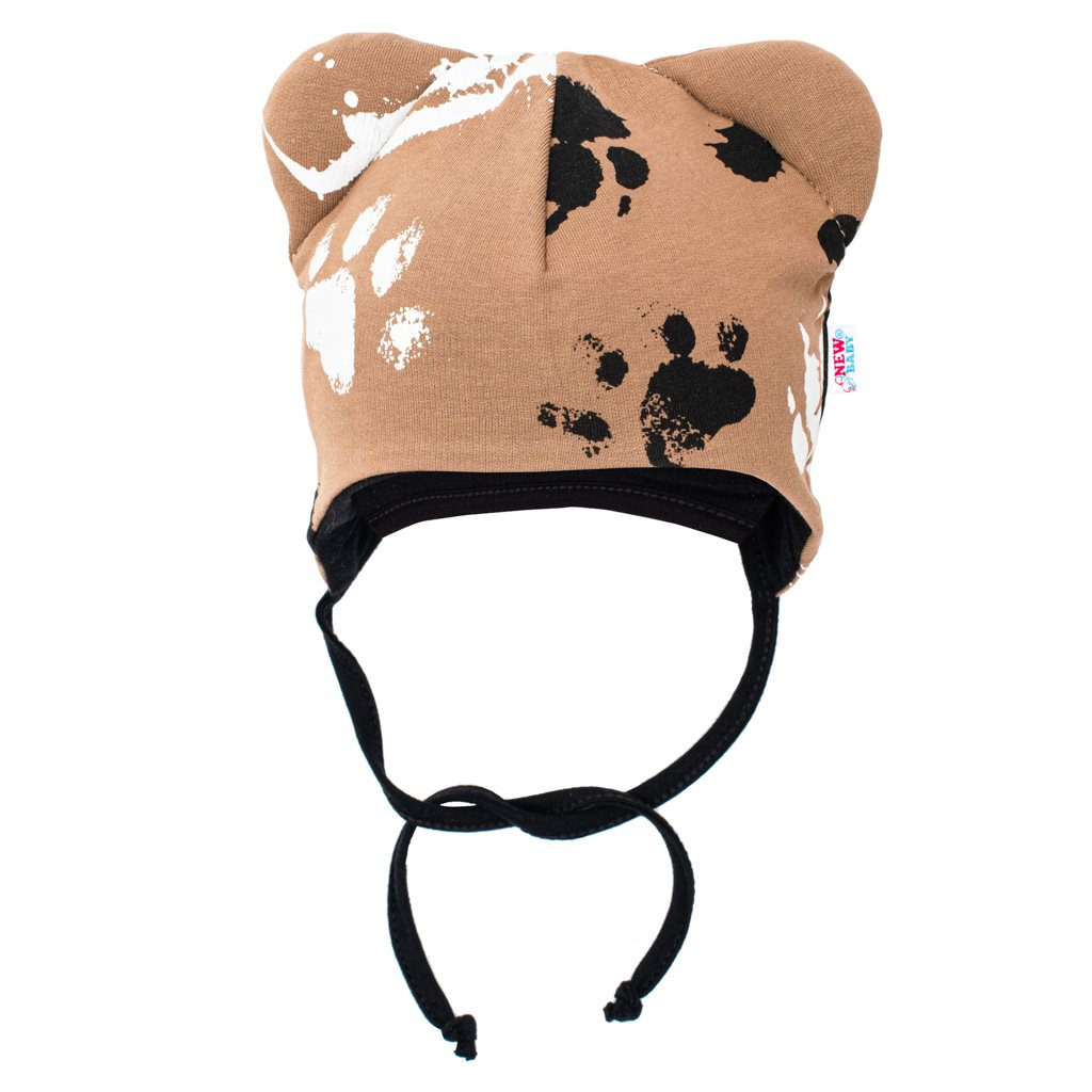Dojčenská bavlnená čiapka s uškami New Baby Paw horčicová-62 (3-6m)