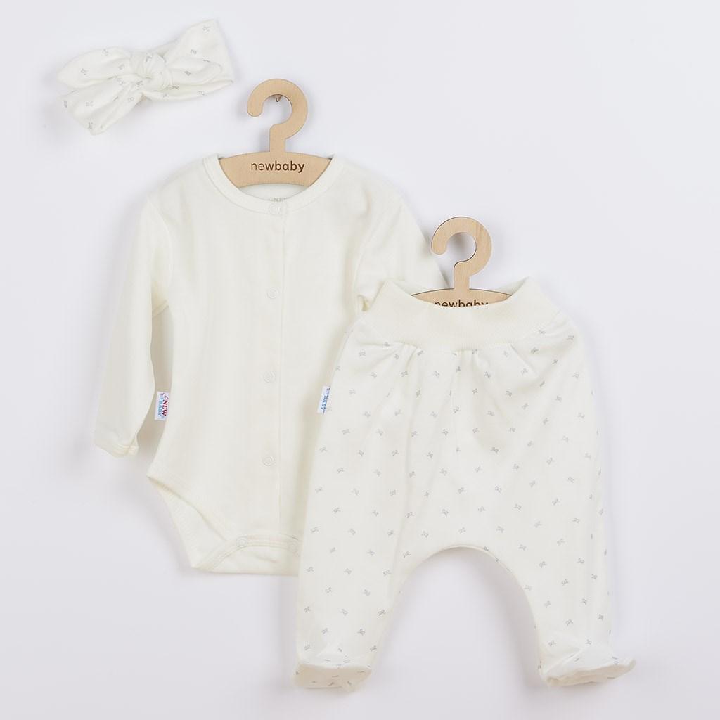 3-dielna bavlnená dojčenská súprava New Baby Kiddy smotanová
