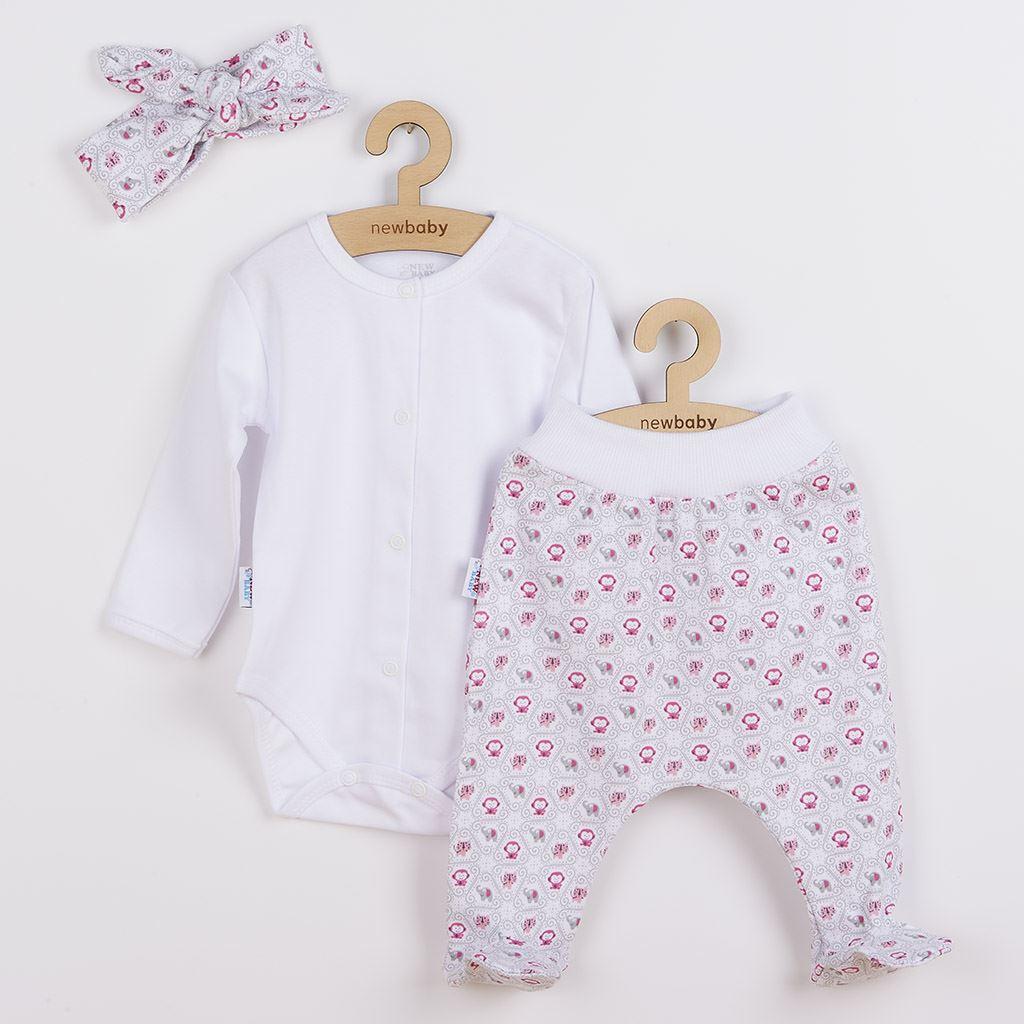 3-dielna bavlnená dojčenská súprava New Baby Kiddy bielo-ružová