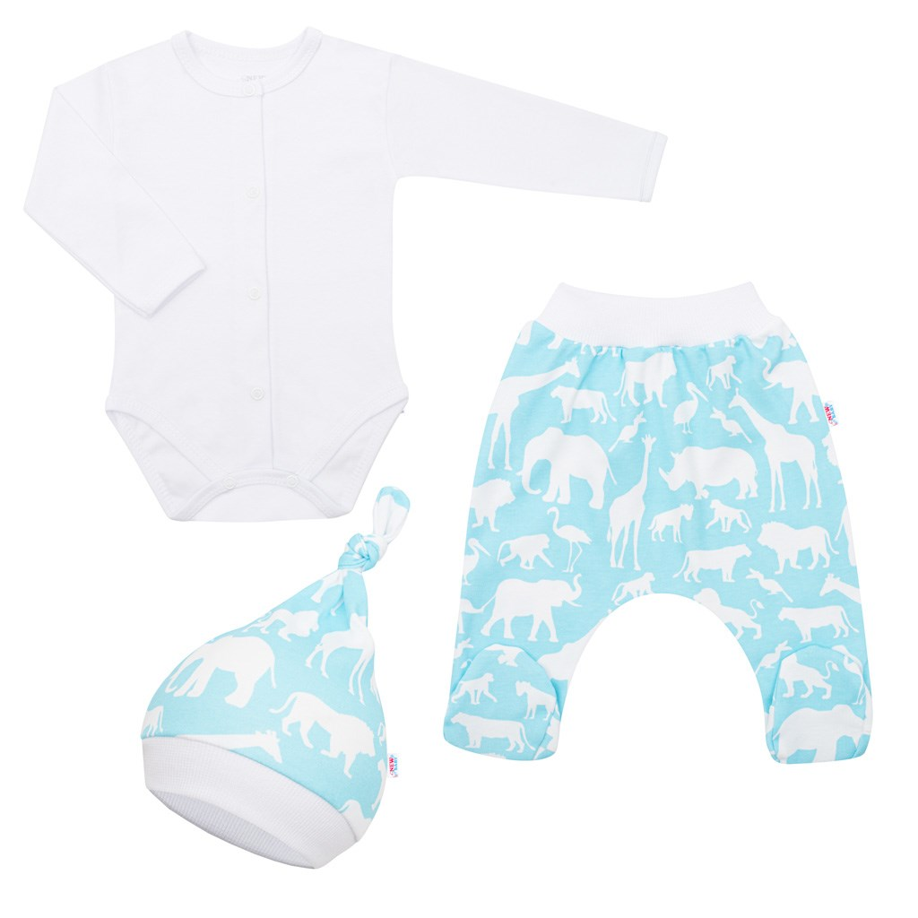 3-dielna bavlnená dojčenská súprava New Baby Kiddy bielo-tyrkysová
