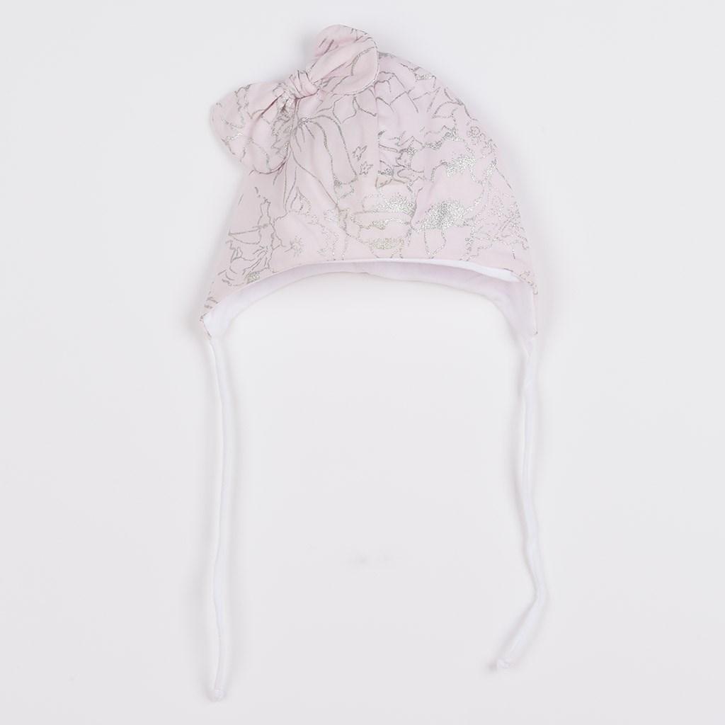 Dojčenská bavlnená čiapka s mašličkou New Baby NUNU ružová
