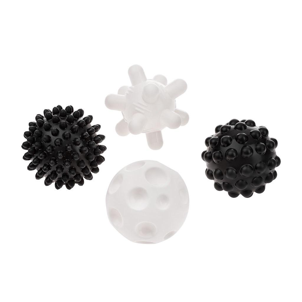 Sada senzorických hračiek Akuku balóniky 4ks 6 cm čiernobiele