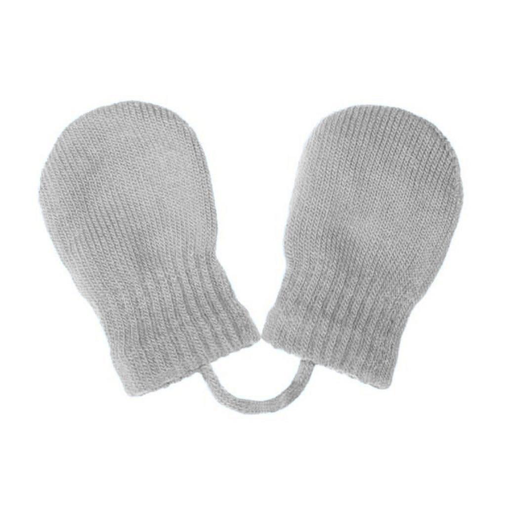 Detské zimné rukavičky New Baby so šnúrkou svetlo sivé