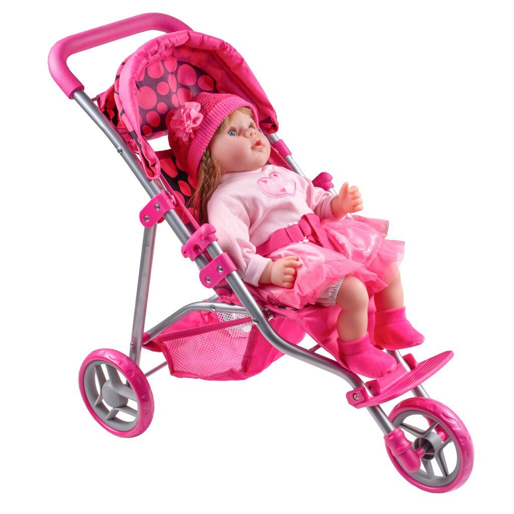 Športový kočík pre bábiky PlayTo Olivie ružový