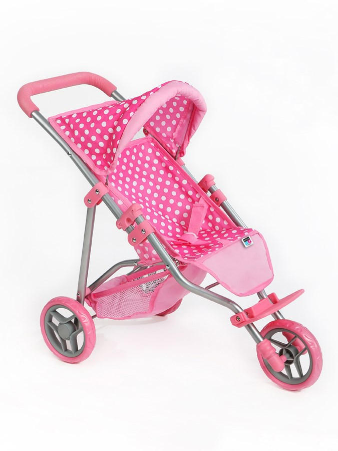 Športový kočík pre bábiky PlayTo Olivie svetlo ružový