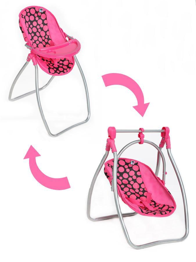 Jedálenská stolička a hojdačka 2v1 pre bábiky PlayTo Isabella, Podľa obrázku